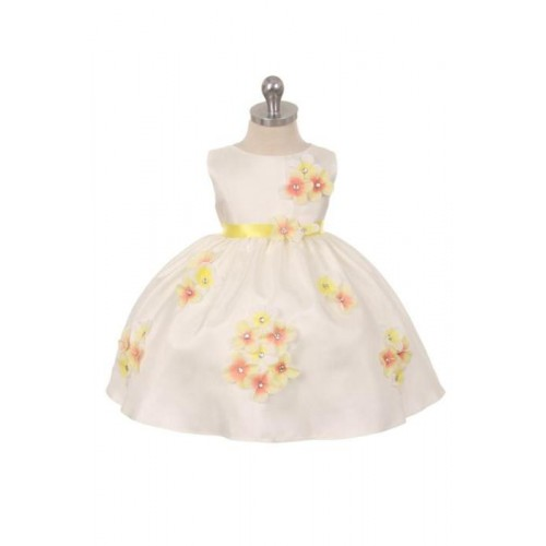 Shantung Dress Decorated with Flower Petals