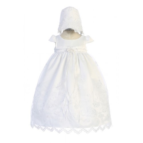 Cross Embroidered Christening Gown