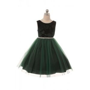 Embossed Floral Velvet Tulle Dress