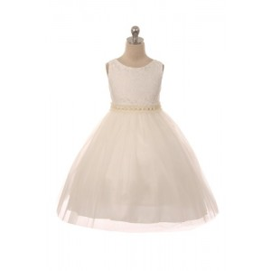 Lace Dress w/ Mesh Pearl Trim
