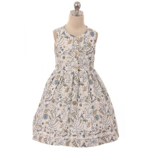 Bird Print Button Dress