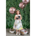 Chevron Floral Cotton Dress