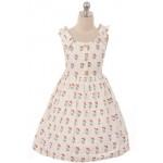 Cotton Shoulder Bow Button Dress