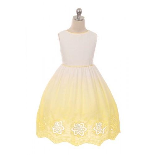 Ombre Cotton Cut Out Dress